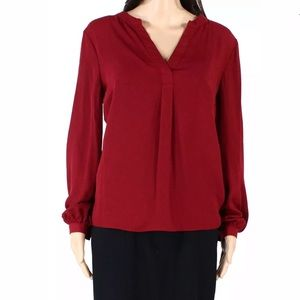 Mixed media V neck lantern long sleeves scarlet